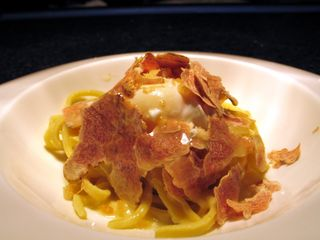 IMG_6936_1 taglialini with soft poached organic egg, brioche bread crumbs, parmesan reggiano, shaved white truffles